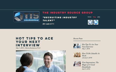 Screenshot of Blog theindustrysourcegroup.com - Blog | The Industry Source Group - captured Sept. 21, 2018