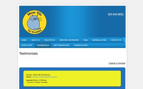 Screenshot of Testimonials Page meowvillecatgrooming.com - Testimonials - Meow-Ville Cat Grooming - captured Oct. 27, 2014