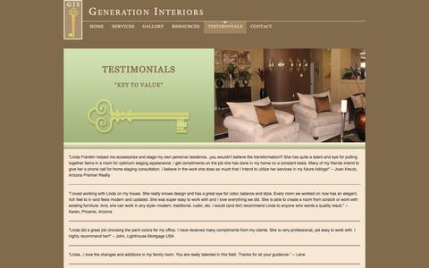 Screenshot of Testimonials Page generationinteriors.com - Generation Interiors and Staging : Staging and Interior Design in Scottsdale Arizona : Testimonials - captured Jan. 23, 2016