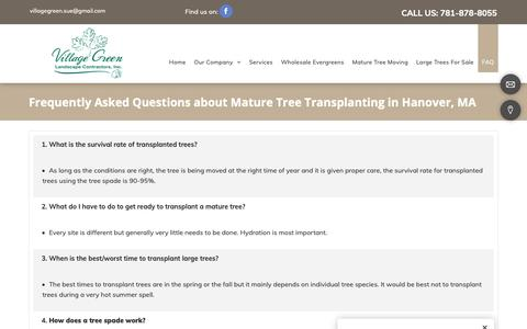 Screenshot of FAQ Page villagegreenlandscapeinc.com - Landscaping Company, Lawn Maintenance | Hanover, MA - captured Dec. 20, 2018