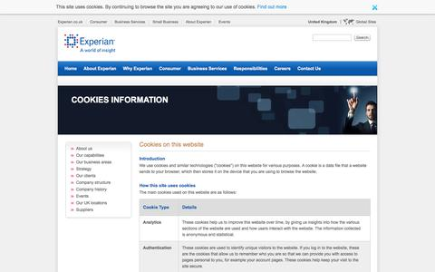 Cookies Information - Experian UK and Ireland