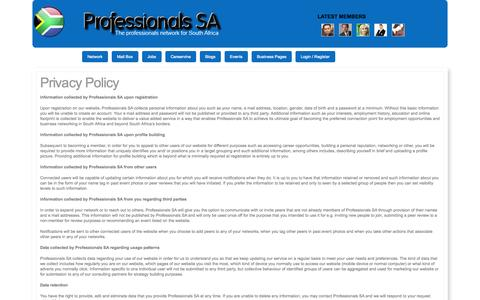 Screenshot of Privacy Page professionalssa.co.za - Professionals SA - The Professionals Network for South Africa - captured Oct. 30, 2014