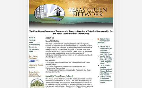 Screenshot of About Page texasgreennetwork.org - Texas Green Network » About Us - captured Oct. 7, 2014