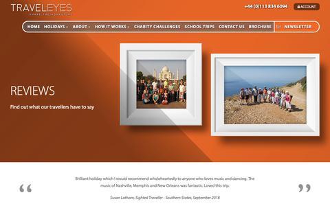 Screenshot of Testimonials Page traveleyes-international.com - Testimonials Archive | - captured Oct. 20, 2018