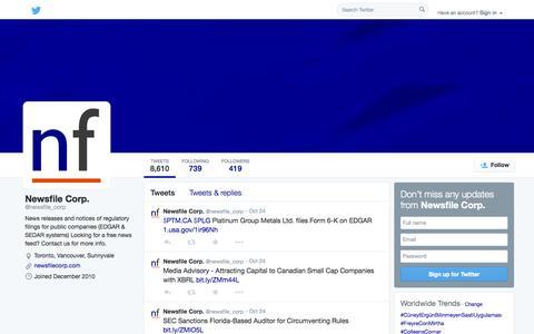 Screenshot of Twitter Page twitter.com - Newsfile Corp. (@newsfile_corp)   Twitter - captured Oct. 26, 2014