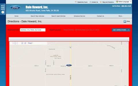 Screenshot of Maps & Directions Page dalehowardford.com - Directions at Dale Howard, Inc. - Your Iowa Falls, Iowa Ford dealer - captured June 24, 2016