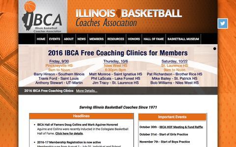 Screenshot of Home Page ibcaillinois.org - Illinois Basketball Coaches Association - captured Nov. 25, 2016