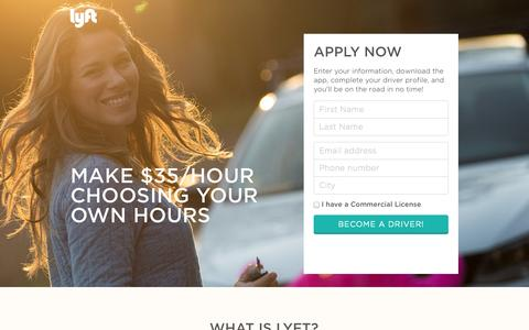 Screenshot of Landing Page lyft.com - Join Lyft | Make $35/hour choosing your own hours - captured Oct. 27, 2014