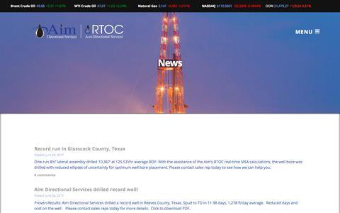 Screenshot of Press Page aimdir.com - News   Aim Directional Services, LLC - captured July 5, 2017
