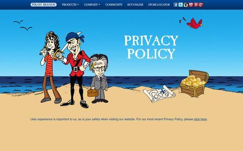 Screenshot of Privacy Page piratebrands.com - Privacy Policy | Pirate Brands - captured Sept. 17, 2014