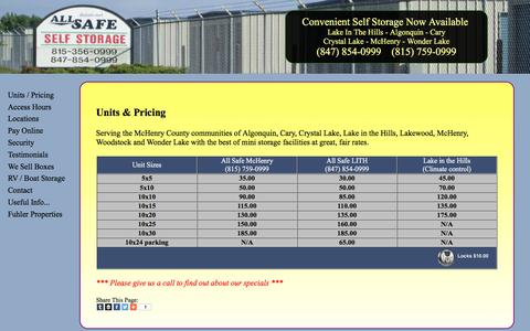 Screenshot of Home Page allsafeinfo.com - Units / Pricing - best storage facilities / great rates - captured Feb. 5, 2016