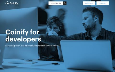 Screenshot of Developers Page coinify.com - Coinify Developers I APIs for Merchant & Enterprise Solutions I Coinify - captured July 19, 2018