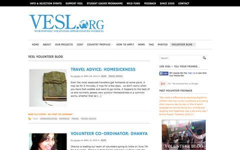 Screenshot of Blog vesl.org - VESL Volunteer Blog | Volunteering in Thailand, Sri Lanka & India - captured Oct. 9, 2014