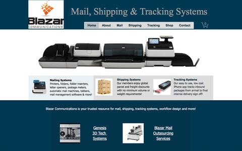 Screenshot of Home Page blazarcomm.com - Mail-Shipping-Tracking Systems | Orange County | Blazar Communications - captured Oct. 10, 2017