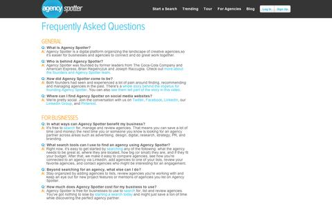 Screenshot of FAQ Page agencyspotter.com - Frequently Asked Questions - Agency Spotter - captured Sept. 11, 2014