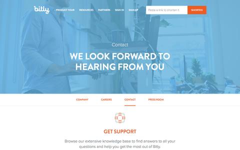 Screenshot of Contact Page bitly.com - Contact Us | Bitly - captured Dec. 2, 2015