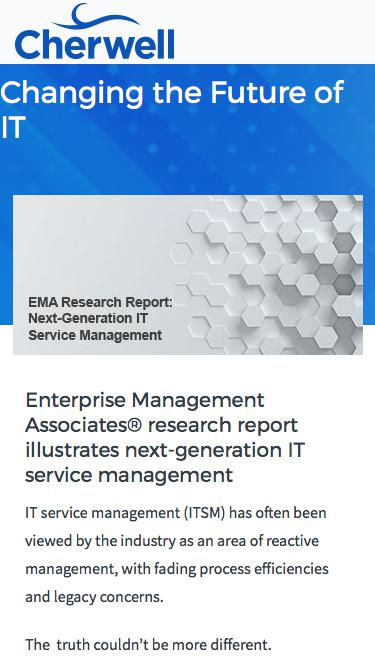 Analyst Research | EMA Research Report: Next Generation IT Service Management