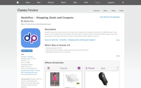 Screenshot of iOS App Page apple.com - DealsPlus - Shopping, Deals and Coupons on the App Store on iTunes - captured Oct. 23, 2014