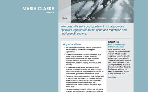 Screenshot of Home Page mariaclarke.co.nz - Sports Law, Sports Lawyer, NZ Sports Law - captured Feb. 4, 2016