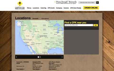 Screenshot of Locations Page cpk.com - California Pizza Kitchen - Restaurant location search - captured Sept. 23, 2014
