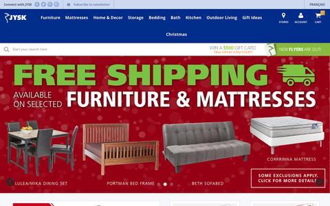 Screenshot of Home Page jysk.ca - Furniture, Mattresses, Home Decor, Bedding, Bath - JYSK Canada - captured Nov. 22, 2015