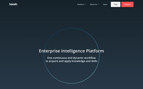 Screenshot of Trial Page keeeb.com - Enterprise Intelligence Platform | Keeeb - captured Sept. 16, 2019