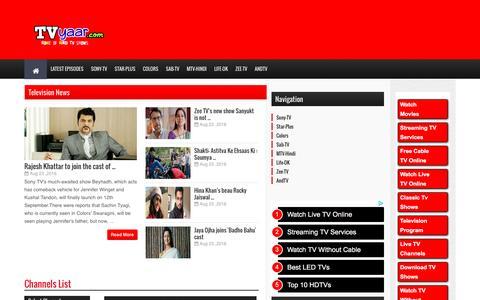 Screenshot of Home Page tvyaar.com - Hindi Serials | Hindi TV Shows | Hindi Dramas Online | TVyaar.com - captured Aug. 23, 2016