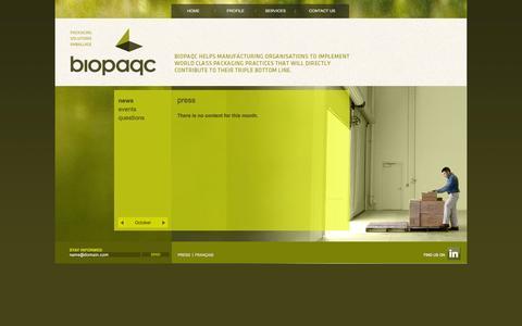 Screenshot of Press Page biopaqc.com - Press « Biopaqc - captured Oct. 5, 2014