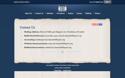 Screenshot of Contact Page shaareitefillaprov.org - Contact Us - captured Nov. 4, 2014