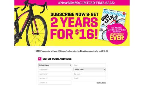 Screenshot of Landing Page bicycling.com - Bicycling Magazine - captured Dec. 29, 2017