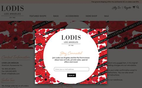 Screenshot of Support Page lodis.com - Lodis   Leather Designer Wallets - Handbags - Purses - captured July 21, 2018