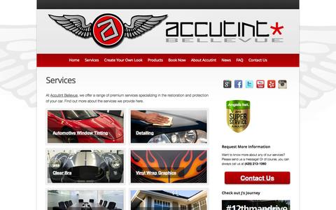 Screenshot of Services Page accutintbellevue.com - Car and Commercial Window Tinting Services | Accutint Bellevue - Car and Commercial Window Tinting | Accutint of Bellevue - captured Oct. 4, 2014