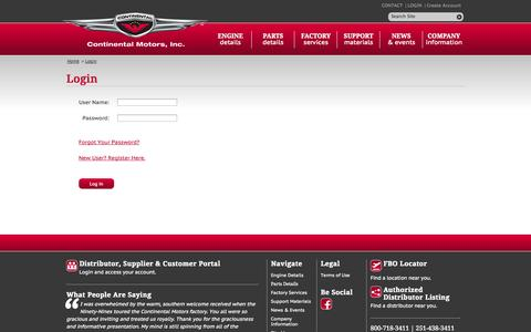 Screenshot of Login Page continentalmotors.aero - Login to Continental Motors - captured Oct. 2, 2014