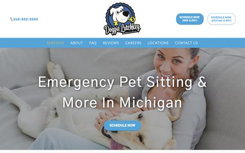 Screenshot of Services Page doggielatchkey.com - Blue Ribbon Pet Sitting | Emergency Pet Sitting | Michigan - captured Oct. 9, 2018