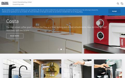 Screenshot of Home Page billi-uk.com - Billi Instant Boiling Taps. Filtered Chilled Water On Demand - captured Jan. 20, 2019
