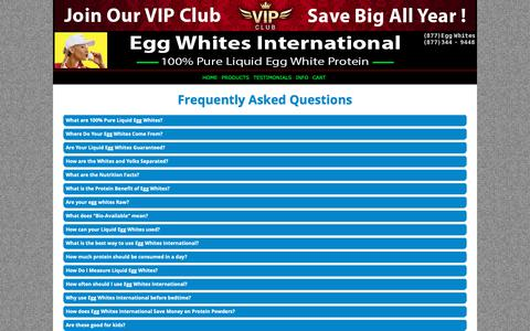 Screenshot of FAQ Page eggwhitesint.com - Egg Whites International - 100% All Natural Pure Liquid Egg Whites | EGG WHITES INTERNATIONAL, LLC. - captured Sept. 27, 2018