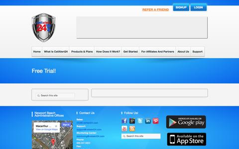 Screenshot of Trial Page cellalert24.com - Free Trial! | Cellalert24 - captured Oct. 2, 2014