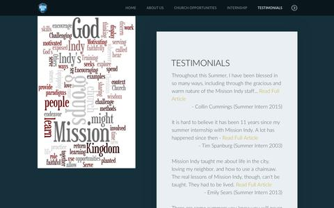 Screenshot of Testimonials Page missionindy.com - Mission Indy | Testimonials - captured Sept. 21, 2018