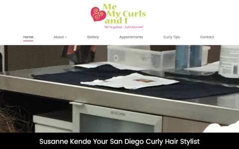 Screenshot of Home Page memycurlsandi.com - San Diego Curly Hair Stylist Susanne Kende - captured Jan. 9, 2016