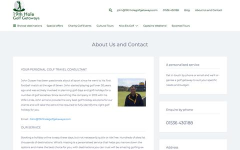 Screenshot of About Page 19thholegolfgetaways.com - About Us and Contact · 19th Hole Golf Getaways - captured Sept. 20, 2018