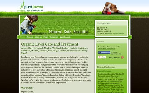 Screenshot of Home Page purelawns.com - Organic Lawn Care | Newton, Wayland, Sudbury, Boston, MetroWest - Pure Lawns - Home - captured Sept. 30, 2014