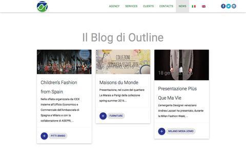 Screenshot of Press Page outlinesas.com - News | Outline Agenzia di Relazioni Pubbliche e Comunicazione | Milano - captured Dec. 6, 2016