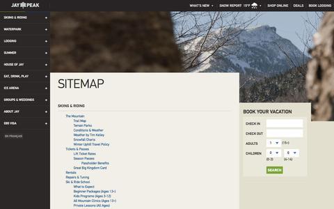 Screenshot of Site Map Page jaypeakresort.com - Sitemap | Jay Peak Resort - captured Jan. 20, 2016