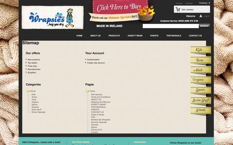 Screenshot of Site Map Page wrapsies.ie - Sitemap - Wrapsies - captured Oct. 7, 2014