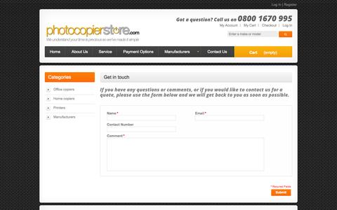 Screenshot of Contact Page photocopierstore.com - Contact Us - captured Oct. 2, 2014