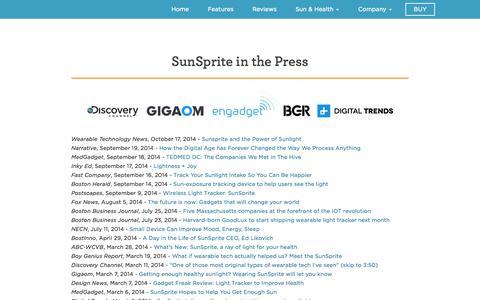 Screenshot of Press Page sunsprite.com - Sunsprite In The Press | SunSprite - captured Nov. 2, 2014