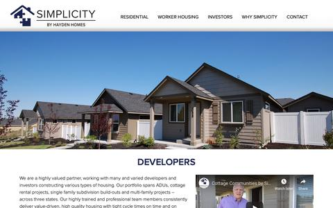 Screenshot of Developers Page simplicity-homes.com - Developers - Simplicity Homes | Custom Homebuilder - captured Oct. 20, 2018