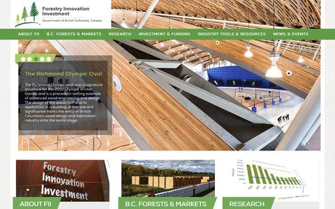 Screenshot of Home Page bcfii.ca - Homepage   Forestry Innovation Investment Ltd. - captured Feb. 10, 2016