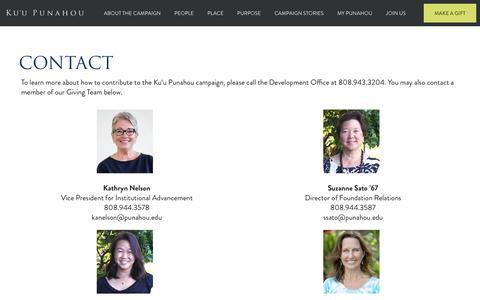 Screenshot of Contact Page punahou.edu - Contact - Punahou School - captured Nov. 15, 2016