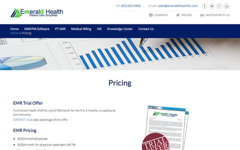 Screenshot of Pricing Page emeraldhealthllc.com - EMR Billing Services - Emerald Health LLC - captured Dec. 9, 2015